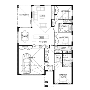 PLAN 13 | 3 Bed | 2 Bath | 25.87 SQ